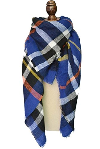 Fashion Women's Winter Soft Plaid Scarf, Large Blanket Wrap Shawl Wrap (Blue) (Plaid Scarf Blue)