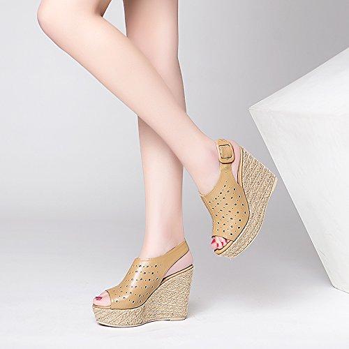 bocca super nuovo tacchi sandali zeppe fondo vuoto paglia White alti KPHY estivi dei nbsp;cm Hollow donna sandali muffin 11 pesci spessore v7zwgnqx
