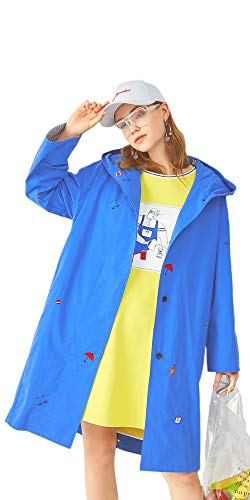 URLAZH Womens Royal Blue Waterproof Rain Trench Coat Hooded Cape Embroidered Coat Jacket
