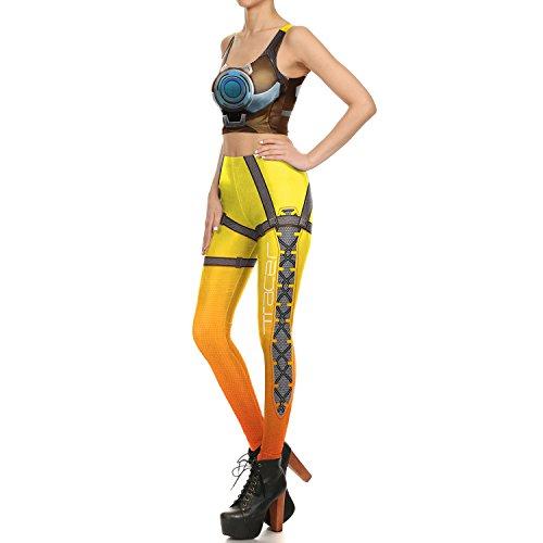 狂った文庫本汚れるYao 新しいデザインの女性のレギンス3Dプリントイエローロボットアークラインセクシーなレギンス女性のスポーツのためのヨガパンツのタイツレギンスフィットネスレギンスベスト