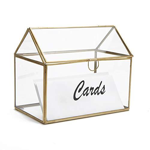 Mind Reader CARDH-CLR Wedding, Invitation, Graduation, Birthday, Gift Holder, Glass Card Box, Clear (Card Terrarium Glass Box)