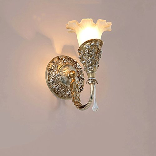 GJ Wall Lamp- Bedroom Bedside Lamp Living Room TV Backdrop Aisle Dressing Table Mirror Light WC Corridor Wall Lamp (Color : Antique sweep gold)