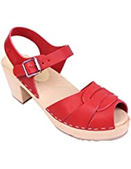Lotta From Stockholm Swedish Clogs : Peep Toe Clogs In Red Leather