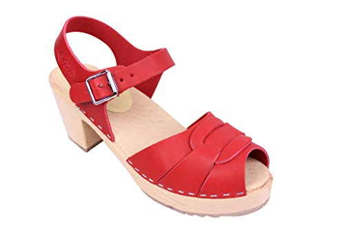From Peep Clogs Toe Leather Red In Lotta Stockholm Swedish RFqFTv