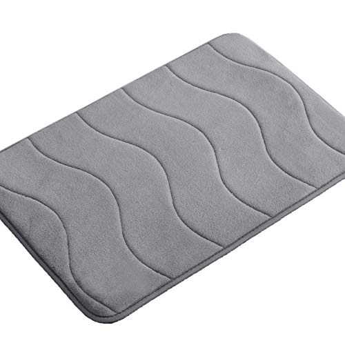 20″ x 32″ Soft Bath Mat Extra Absorbent Memory Foam Rug Area Rug Sets Toilet Floor Rug Machine-Washable, Perfect Bath/Tub Non-Slip Rubber Bathroom Rug Mats Water Absorbent Gray Waved Pattern