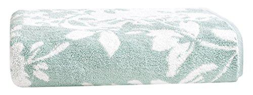 LOFT by Loftex Floral Block Jacquard Bath Towel, Sterling Blue/Sugar Swizzle