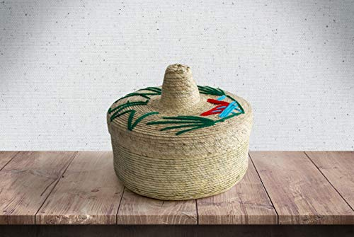 Genuine Mexican Handwoven Tortillero, Fiesta Mexican Tortilla Warmer, Tortilla Holder, Tortilla Keeper,Tortilleros Mexicanos Para Fiesta - 2-Pack Includes smaller size inside! (Sombrero Mexicano, 2)
