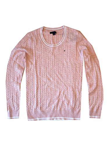Tommy Hilfiger Womens Scoop Neck Cable Knit Sweater (M, Light Pink White)