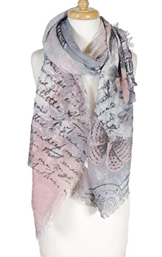 Soft Scarf with fringed edge all around, floral with letters, Viscose scarf, fashion scarf, multi color, beach scarf (Plum) (Soft Floral Scarf)