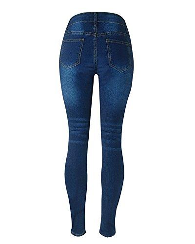 Mujer Pantalones Cintura Alta Ripped Elásticos Skinny Slim Casuales Rasgados Vaqueros Leggings Jeans Azul marino