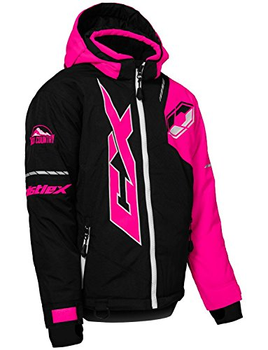 Castle X Stance Youth Snowmobile Winter Jacket - Black/Pink Glo/White (XLG)