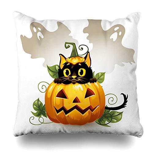 Kutita Decorativepillows Covers 16 x 16 inch Throw Pillow Covers,Black Cat Halloween Pumpkin Ghost Animal Happy Art Autumn Cartoon Pattern Double-Sided Decorative Pillowcase -