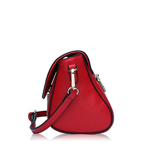 Bag carré Minimaliste Cuir en Rouge Loisirs Motif Vintage à Bouton magnétique Litchi bandoulière Messenger Sac C7X67qrwnW