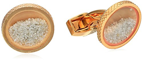 Tateossian Rose Gold Plated Diamond Clear Round Diamond Dust Rough and Precious Cuff Link by Tateossian