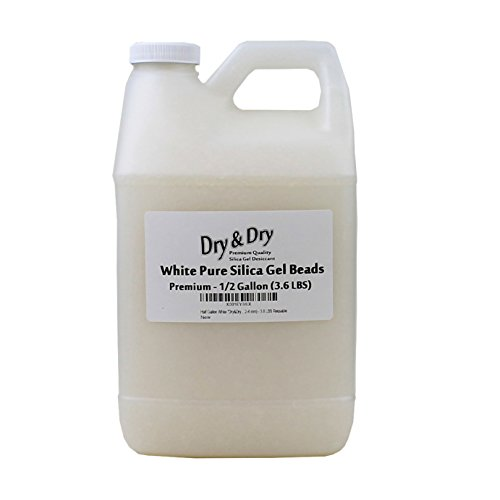 Dry & Dry Half Gallon White Premium Silica Gel Desiccant Beads(Industry Standard 2-4 mm) - 3.6 LBS Reusable