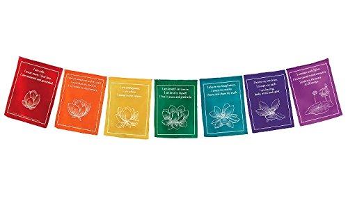 Handmade Rainbow Chakra Lotus Healing Prayer Flags For Sale