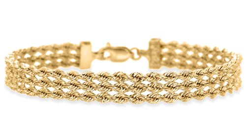 Carissima Gold 9ct Yellow Gold 3 Strand Rope Bracelet of 18cm/7 1Mj5UeioLU