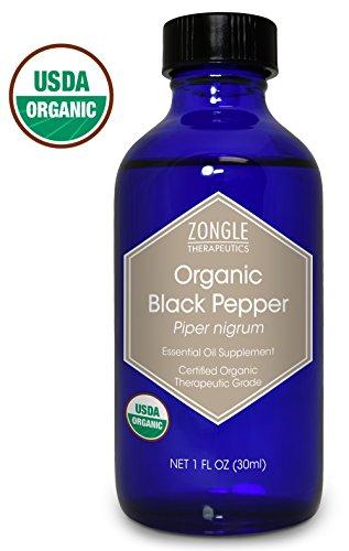 Zongle USDA Certified Organic Black Pepper Essential Oil, Ceylon, Safe To Ingest, Piper Nigrum, 1 oz