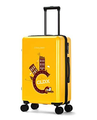 ファッショントロリーケースユニバーサルホイール漫画スーツケースかわいいプリントギフトスーツケース S イエロー B07NNN8WW2