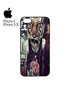 Tiger Head Tattoo Guy Retro Mobile Cell Phone Case Cover iPhone 5&5s White