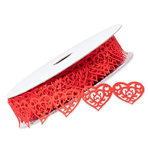 Juvale Decorative Romantic Heart Shaped Lace Red Trim Ribbon for Valentines Day, DIY Crafts, Sewing, 15 Yards x 1 Inch -