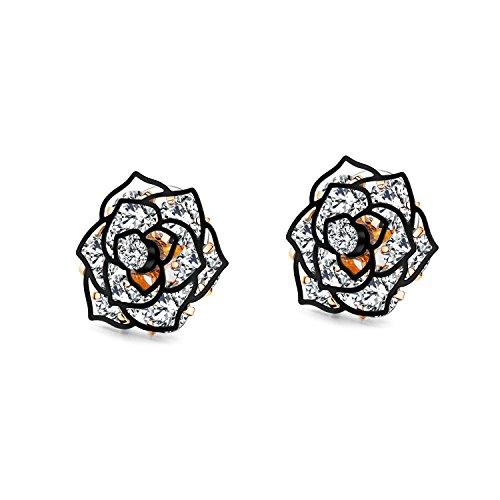 214fb6f2e Galleon - 18K White Gold Yelow Gold Plated Stud Earrings,Hollowed Black  Rose Flower/Butterfly CZ Cubic Zircon Hypoallergenic Studs For Women Teen  Girls ...