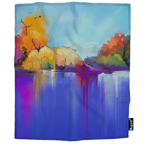 Mugod Tree and Lake Throw Blanket Semi Abstract Blue and Purple Sunlight Landscape Nature Soft Cozy Fuzzy Warm Flannel Blankets Decorative for Baby Toddler Swaddle Dog Cat 30X40 Inch ()