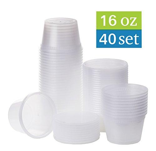 Price comparison product image [TashiBox] 16 oz plastic food storage containers with lids - 40 sets