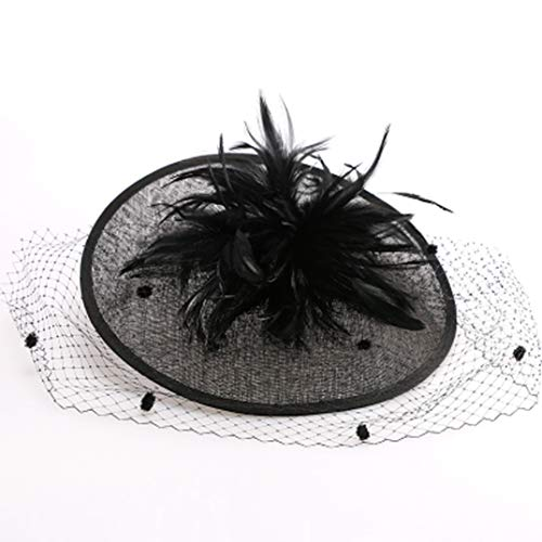 KRASTAL British Women Hats Sinamay Church Hats Fascinator Wedding with Veil Feather Cocktail Hats Black