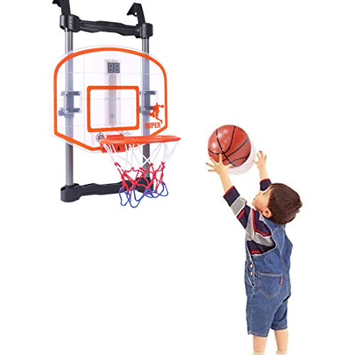 RuiyiF Kids Indoor Basketball Hoop Over The Door with Scoreboard, Electronic Basket Hoop Portable for Toddler Boys Girls