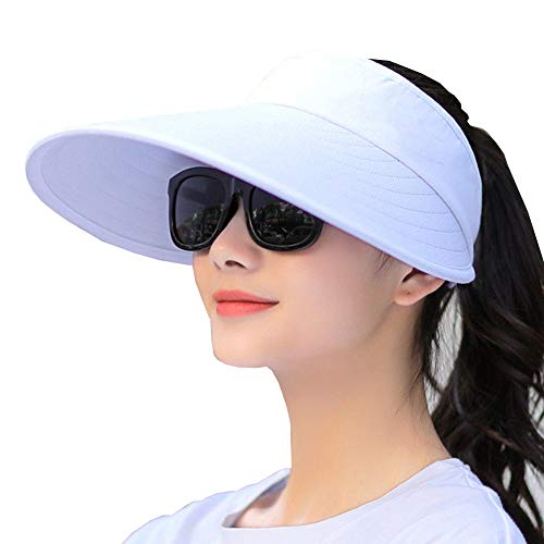 (Sun Visor Hats Women Large Brim Summer UV Protection Beach Cap (All White))