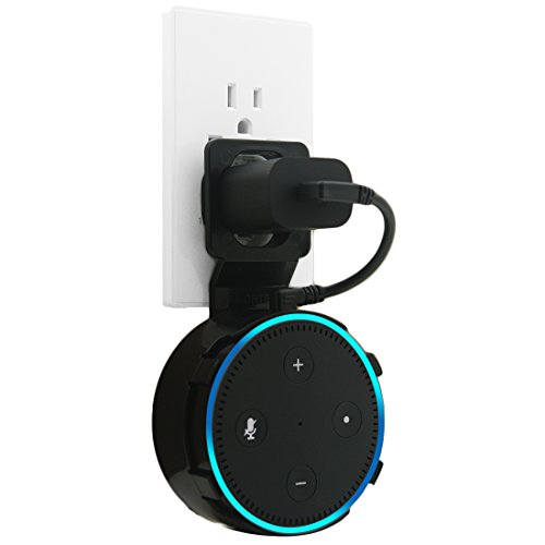 Dot Outlet Wall Mount with Short Charging Cable for Dot 2nd Generation, Dot Accessories Let You Use Dot in Kitchen,Bathroom,Classroom...Everywhere (Black)