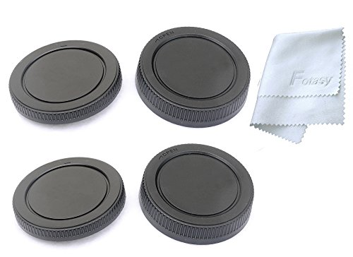 Fotasy MA2X 2x Rear Lens Cover, Camera Body Cap Set and Cleaning Cloth for MFT Micro 4/3 M43 Mirror Less Camera (Black)