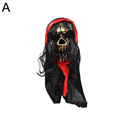 YuYe Scary Horrible Skull Simulate Hair Mask Cosplay Halloween Costumes Party Prop - A -