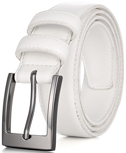 Marino's Men Genuine Leather Dress Belt with Single Prong Buckle - White - ()