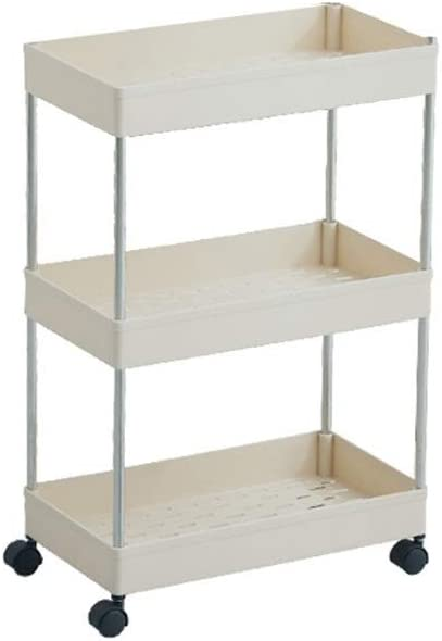 Storage Rack, bathroom cabinets kitchen living room narrow gorge Home Events wheel carrier layer 2/3/4 Storage shelf (Color : White 3 layers)