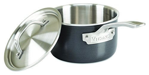 Viking Culinary Hard Stainless 5-Ply Sauce Pan with Hard Anodized Exterior and Stainless Interior, 2 Quart