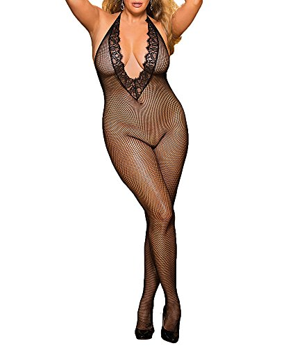 Shirley of Hollywood Plus Size Deep Plunge Crotchless Bodystocking, One Size, Black