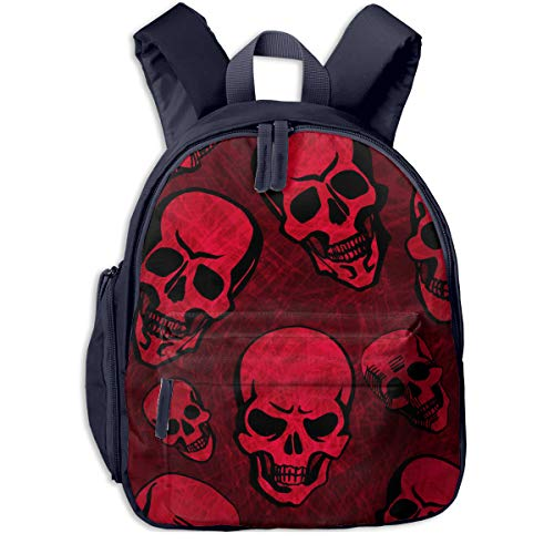 Halloween Seamless Double Zipper Waterproof Children Schoolbag With Front Pockets For Youth Boy Girl ()