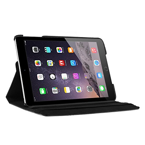 Dealgadgets iPad Mini Case 360 Degrees Slim Rotating Stand Leather Case Cover for Apple Ipad Mini 1/2 /3 Black