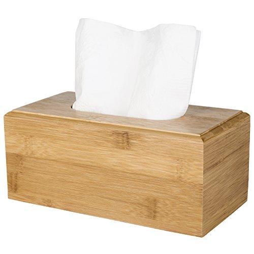 Refillable Tissue Dispenser - MyGift Decorative Beige Bamboo Facial Tissue Cover/Refillable Wooden Kitchen Napkin Holder & Dispenser