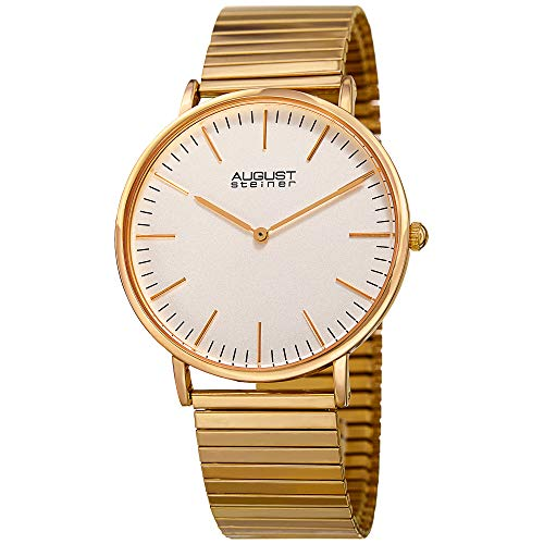 August Steiner Stretch Bracelet Men's Watch - Designer Expandable Stainless Steel Gold Tone Strap - Round Polished Bezel, Matte Dial - AS8216YG