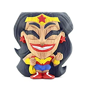 411jsKV%2BFNL. SS300 Cryptozoic Entertainment Wonder Woman Teekeez Figure - 2.62-Inch Stackable Vinyl Tiki Figure - Wood-Carved Aesthetic
