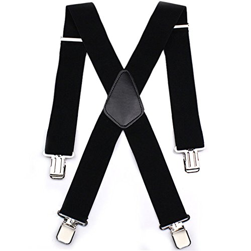 Mens X Shape Adjustable and Elastic Suspenders Heavy Duty 50MM Wide One Size