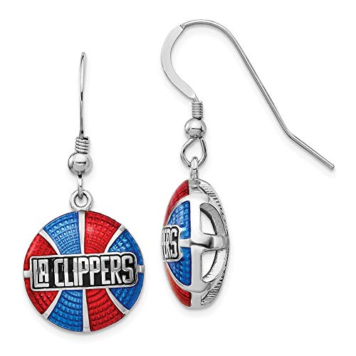 Sterling Silver Los Angeles Clippers Enameled Basketball Dangle Earrings