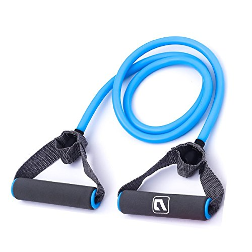 Liveup SPORTS Toning Tube Resistance Bands / Cord Pulley TPR Foam For Exercise Fitness Pilates Strength Training with Foam Handles (Heavy tension - Blue)