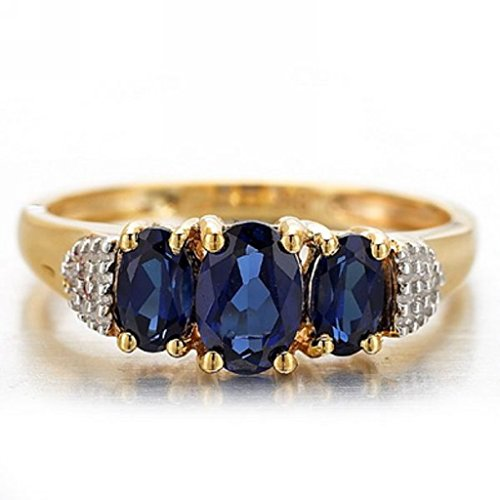 Huanhuan Jewelry Women's Halo Three Oval Stone Blue Synthetic Sapphire CZ 18k Yellow Gold Plated Ring Band for Valentine's Day Promise Engagement Size ()