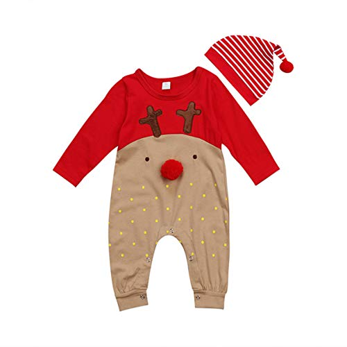 Waapaa Newborn Baby Girls Boys Christmas Clothes 2Pcs Long Sleeve Deer Rompers + Hat Jumpsuit