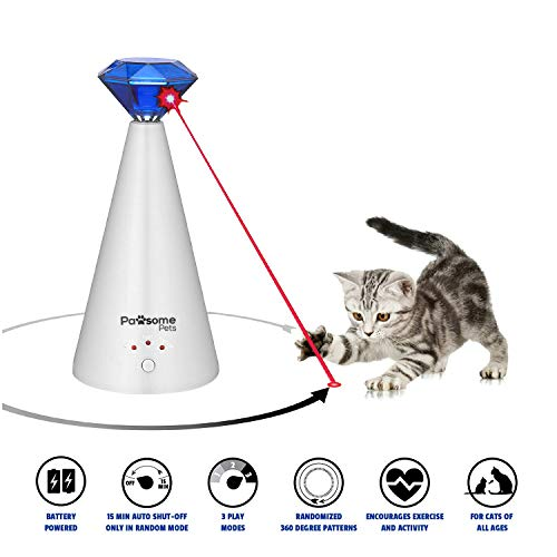 Pawsome Pets Automatic Cat Laser Toy - Pet Laser Light for Cats, Interactive Cat Chase Toy With 3 Rotating Modes - Auto Shut - Cat Toy Friends