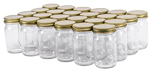 North Mountain Supply 4 Ounce Smooth Sided Canning Jars 48 CT - With Gold Lids - Case of 24